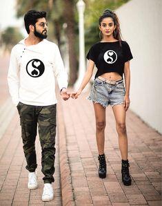 Online shopping for T-shirts with free worldwide shipping Matching Disney Shirts, Matching Couple Outfits, Matching Couples, Cute Couples, Cute Couple Shirts, Couple Tees, Katrina Kaif Bikini Photo, Fabric Paint Shirt, Aesthetic Shirts