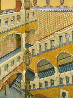 Trappenhuis van het bondsgebouw van de Algemene Nederlandsche Diamantbewerkers Bond. (Henri Polaklaan, Amsterdam) , 1900 - 1970
