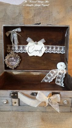Wedding Rustic Glam Wooden Card Trunk , Wedding Card Holder, Personalized…