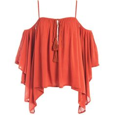Sans Souci Gauze cold shoulder top ($29) ❤ liked on Polyvore featuring tops, rust, bell sleeve tops, gauze tops, cut out shoulder top, open shoulder top and tassel top