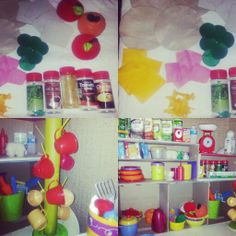 shelves and mug tree from boxes. play food from felt,empty packs and plastic jars for toddler play kitchen