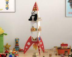 Puzzle de cohete cohete de estante - archivo de plantilla de corte - estantería stand - láser y planos de corte router cnc, estante del juguete, madera