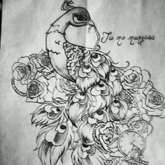 Peacock thigh tattoo design