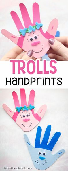 These handprint trolls cards are perfect to make for Mothers Day or for a Trolls birthday party! This is great if you're looking for fun Trolls birthday party ideas, or trolls crafts. Trolls crafts for kids. #bestideasforkids #trolls #mothersday #handprint #trollsparty via @bestideaskids