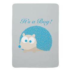 It's a Boy! Hedgehog Receiving Blanket