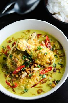 Indonesian Soto Ayam - also check other versions with hard boiled egg, lime, brazil nuts.