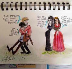 Merlin fan art.  For some reason I LOVE this. :) Merlin Memes, Merlin Funny, Colin Morgan, Merlin And Arthur, King Arthur, Merlin Fandom, Destiel, Johnlock, Fandoms