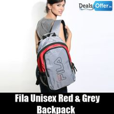 Fila Unisex Red & Grey Backpack @ 20% Off