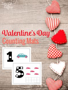 Help your child count from 1 to 10 with these adorable Valentine's day counting mats which are perfect for toddlers or preschoolers. Use the counting mats for counting, addition and subtraction up to 10.  #math #preschool #toddlers #homeschool #Valentinesday
