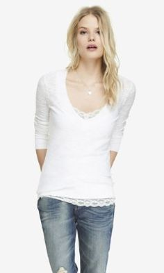 FITTED SLUB KNIT V-NECK SWEATER from EXPRESS