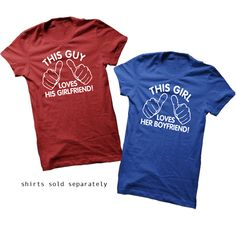 This Girl Loves Her Boyfriend. T-Shirt for Girl Teenage Girl Teenager. Shirt For Women College Student Relationship Couples Hands. $13.50, via Etsy.