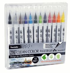 ZIG Clean Color Real Brush Holiday Set of 12 - MarkerSupply.com