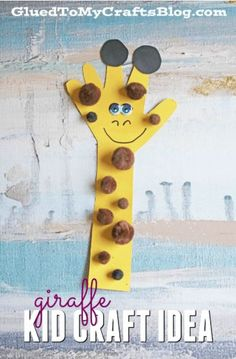 Paper handprint giraffe - kid craft idea hand crafts for kids, animal crafts kids, Giraffe Crafts, Animal Crafts For Kids, Paper Crafts For Kids, Art For Kids, Paper Animal Crafts, Arts And Crafts For Kids Toddlers, Kids Diy, Unicorn Crafts, Jungle Crafts Kids