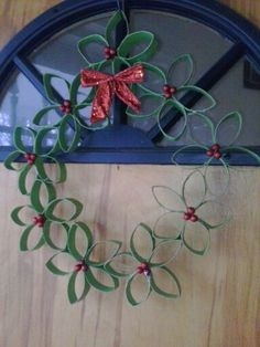 Empty roll holiday wreath...I love reusing!!