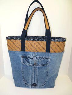 Denim tote bag with Kraft-Tex Kraft