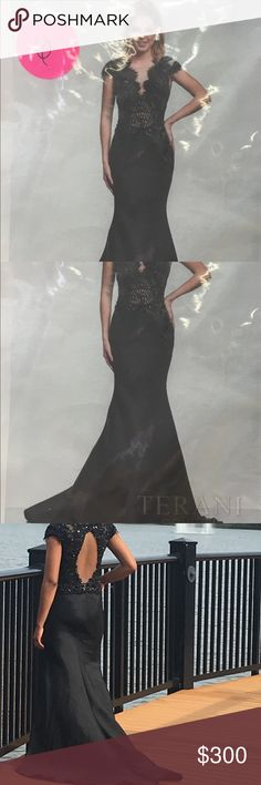Terani Couture dress Black couture dress with detailed beaded design in front. With train and back oval shape cutout. Only wore once. Can be used as evening gown Terani Couture Dresses Prom
