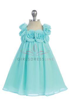 Aqua Chiffon A-line Simple Infant Flower Girl Dress CB-611-AQ CB-611-AQ $36.95 on www.GirlsDressLine.Com
