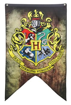 "The wizarding school of Hogwarts Banner from Harry Potter. Product Specifications: Banner is 30"" x 50"" and includes Grommets across the top Includes a zipper pouch for safe keeping"