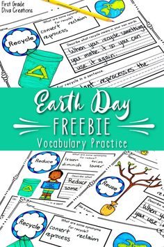 This Earth Day Freebie is perfect for your primary classroom. Print and go worksheets for fun and engaging ELA activiti New Vocabulary Words, Vocabulary Practice, Vocabulary Activities, Free Activities, Teaching Activities, Toddler Activities, Teaching Resources, Teaching Ideas, Primary Teaching