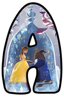 Elegante Abecedario de la Bella y la Bestia. Beauty and the Beast Letters.