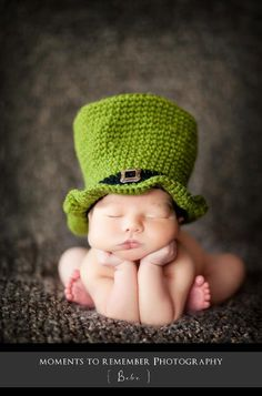 Newborn St Patricks Day Hat, Baby Photo Prop Hat. $35.00, via Etsy.