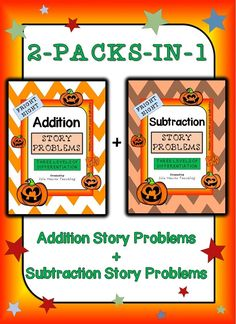 This 90-paged Halloween-themed ADDITION AND SUBTRACTION STORY PROBLEM pack is differentiated (three levels) to challenge and engage your students -- whatever their ability level. Simply print the sheets, assemble them in booklets and start using immediately! It makes math centers fun, morning work a breeze and lesson preparation easy!