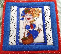 """Mug Rug Loralies Lady in Blue """"Sew Creative"""" Potholder Hot Mat Quilted Pieced 