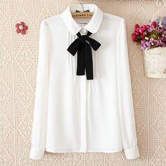 Korean students sweet bow chiffon blouse