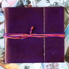 three string large leather photo album - purple by paper high