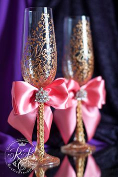 Wedding toasting flutes gold and coral bride от RusticBeachChic