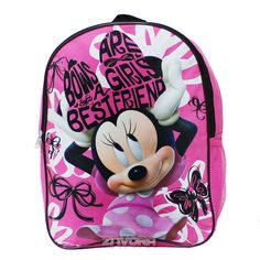 """Disney Minnie Mouse 16"""" Backpack with 1 Side Mesh Pocket"""