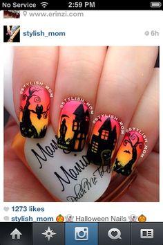 Haunted house halloween nails