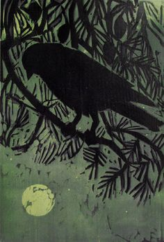 """""""Crow Watches The Moonrise"""" by Kent Ambler"""