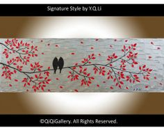 """Autumn Is Here"" by QIQIGallery 36""x12"" Original Painting, $185.00"