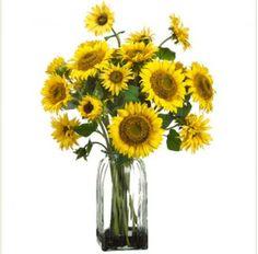 Yellow Silk Sunflowers in Glass Vase - ARWF1203