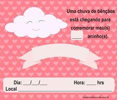 Crafts For Kids, Baby Shower, Diaper Invitations, Invitation Birthday, Digital Paper Free, Girl 1st Birthdays, Clouds, Cards, Crafts For Children