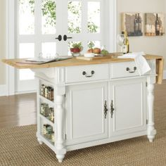 Drop-leaf Kitchen Island With Butcher's Block Top (off White)