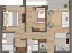 Emprendimiento - Conquista Velásquez II - Estación Central - Ref. 210 Apartment Floor Plans, Bedroom Floor Plans, House Floor Plans, Weekend House, Tiny Apartments, Sims House, Room Planning, Small House Plans, Large Homes
