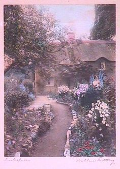"I am lucky enough to own this Wallace Nutting print; ""Larkspur Cottage"""