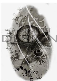 Kompass Tattoo Design – Tú Aquarell - Famous Last Words Map Tattoos, Bild Tattoos, Skull Tattoos, Ship Tattoo Sleeves, Sleeve Tattoos, Tattoo Sketches, Tattoo Drawings, Couple Tattoos, Tattoos For Guys