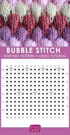 Bubble Knit Stitch Pattern Chart with Video Tutorial by Studio Knit. How to Knit the Bubble Stitch Pattern with free knitting pattern and video tutorial by Studio Knit Knitting Stiches, Knitting Videos, Knitting Charts, Knitting Patterns Free, Knit Patterns, Free Knitting, Baby Knitting, Stitch Patterns, Free Pattern