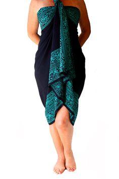 PLUS SIZE Sarong Black and Teal Beach Sarong Batik Pareo - Extra Long Wrap Skirt or Dress - Women's Plus Size Clothing Sarong Wrap Cover Up