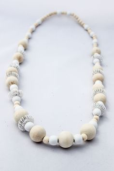 Natural and White Asymmetrical Necklace Wooden Necklace, Pearl Necklace, White Beads, Online Gifts, Necklace Designs, Pin Cushions, Beaded Bracelets, Necklaces, Gifts For Women