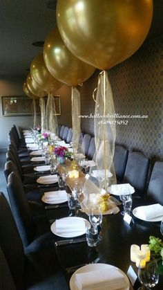 Superb Set Up At The Ottoman Restaurant Giantballoons Jumboballoons 3footballoons Goldballoons 70th Birthday Parties60th