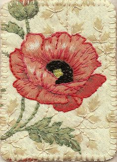 Poppy fabric postcard.