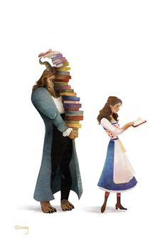 Love this artwork of Beauty and the Beast! For all bookworms.