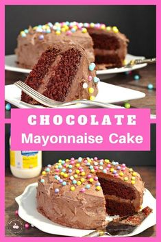 This easy Chocolate Mayonnaise Cake is an old-fashioned cake that has mayonnaise in the batter for a rich and delicious chocolate cake. It's perfect for birthday parties or any celebration! Whipped Cream Buttercream, Chocolate Whipped Cream, Baking Recipes, Cookie Recipes, Dessert Recipes, Desserts, Dinner Recipes, How To Make Frosting, Homemade Frosting