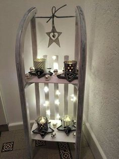 Advent wreath with a difference Christmas deco sledge rack sledge - Schlitten Christmas Home, Christmas Wreaths, Advent Wreaths, Christmas Fashion, Christmas Ornaments, Diy Pinterest, Pinterest Board, Indoor Christmas Decorations, Halloween Decorations