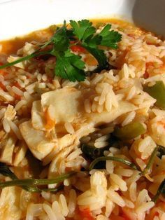 Arroz de Bacalhau - (codfish with rice) Rice Recipes, Seafood Recipes, Cooking Recipes, Healthy Recipes, Cod And Rice Recipe, Cod Fish, Portuguese Recipes, Portuguese Food, Food Shows