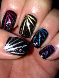 Fireworks for New Years #fireworks #newyears #nails #nailart